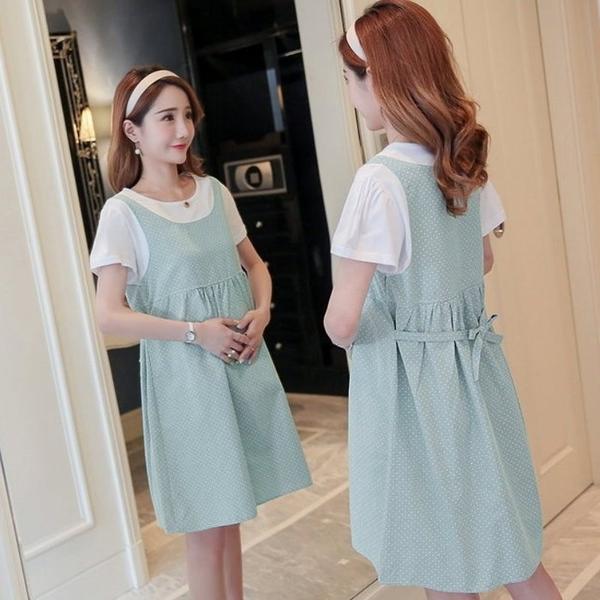初心 假兩件 洋裝 【D3222】 假二件 背心裙 點點 短袖 公主袖 洋裝