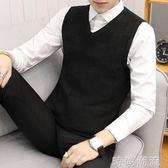 針織馬甲男韓版修身休閒毛線背心男士V領套頭坎肩無袖毛衣打底衫   時尚潮流
