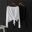 罩衫 2020新款t恤衫透視防曬衣女夏季薄款上衣學生韓版寬松長袖蝙蝠衫易家樂