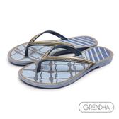 GRENDHA 海洋風結繩圖飾人字鞋-藍色/金