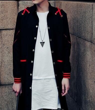 找到自己品牌 男 時尚 街頭 潮 紅色織帶拼接 中長款 長袖襯衫 特色襯衫