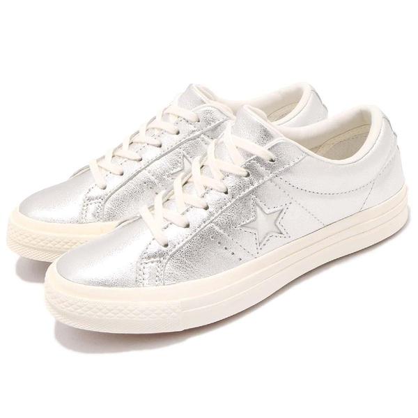 Converse One Star 銀 白 復古奶油底 金屬光澤 星星 經典款 基本款 女鞋【PUMP306】 161590C