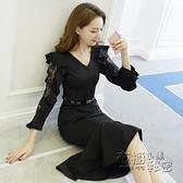 蕾絲洋裝 春裝年新款長袖蕾絲雪紡大碼遮肚洋裝胖mm氣質顯瘦魚尾裙子 衣櫥秘密
