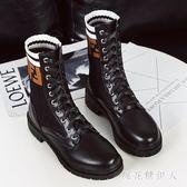 中筒靴 女春秋2018新款馬丁靴英倫風平底襪子靴中筒瘦瘦靴網紅機車靴 CP854【棉花糖伊人】