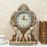 歐式復古座鐘台鐘客廳美式大號台式鐘錶擺鐘桌面創意家用時鐘擺件MBS『潮流世家』
