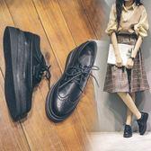 鬆糕鞋女厚底春季英倫學院風小皮鞋圓頭繫帶牛津鞋單鞋 奇思妙想屋