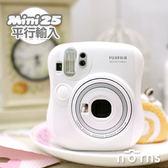 【Mini25 白色拍立得相機 平輸貨】Norns Fujifilm Instax 富士mini底片 雙快門 保固一年 自拍鏡近拍