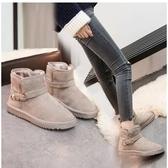 小鄧子2017冬季新款雪地靴保暖棉鞋短筒雪地棉女學生韓版搭扣加絨短靴女