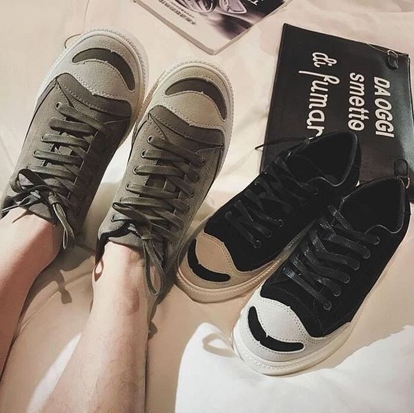 時尚街頭綁帶開口笑磨砂皮反絨皮休閒鞋
