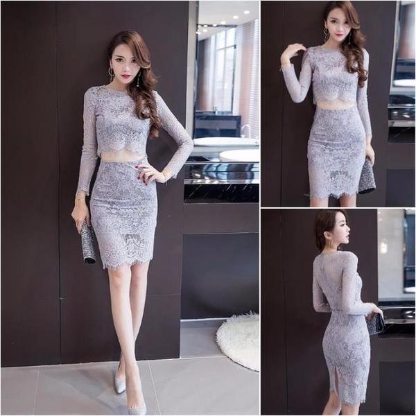 修身包臀洋裝緊身顯瘦蕾絲兩件套套裝裙