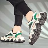 涼鞋男2021年新款夏季潮流個性休閒運動老爹鞋外穿包頭沙灘洞洞鞋 3C優購