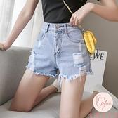 牛仔短褲女夏季薄款潮韓版高腰顯瘦破洞寬松【大碼百分百】