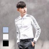 男  長袖襯衫/撞色/拼接  L AME CHIC 袖上撞色拼條素面修身長袖襯衫【ETLS100503】