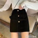 2021春款大碼高腰韓版百搭a裙胖MM遮肚顯瘦半身裙口袋明線裙遮胯 蘿莉新品