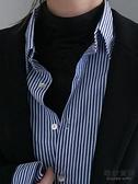 藍色豎條紋襯衫女秋冬設計感疊穿復古寬松內搭外穿襯衣潮【毒家貨源】