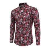 長袖襯衫-花色精美玫瑰印花時尚男上衣2色73po20【巴黎精品】
