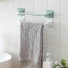 毛巾架 衛生間毛巾架免打孔吸盤廁所單桿掛毛巾桿浴巾浴室置物架子【快速出貨八折鉅惠】