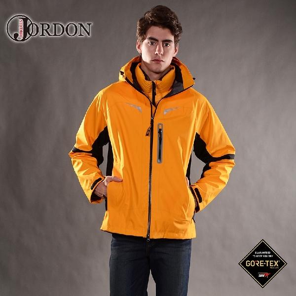 【JORDON 橋登 男 GORE-TEX 3L外套《橙黃》】1137/兩件式/防水外套/二合一外套/機能外套