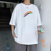 短袖t恤男大碼寬鬆彩虹半袖上衣休閒百搭體恤【橘社小鎮】