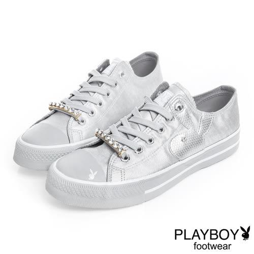 PLAYBOY 光采搖滾 可拆鞋帶釦亮粉帆布鞋-銀