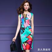 大碼印花洋裝夏季新款時尚涂鴉連衣裙女包臀修身中長款無袖短袖女裙  AB5390 【男人與流行】