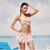 熱浪泳裝性感小胸鋼托聚攏比基尼三件套保守泳衣女82530 草莓妞妞