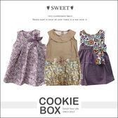泰國兒童公主拼布點點綁帶蝴蝶結碎花洋裝女寶洋裝 餅乾盒子