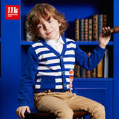 JJLKIDS 男童 小汽車條紋針織外套(白色)