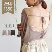 PUFII-針織上衣 美背綁帶針織上衣-0911 現+預 秋【CP17223】