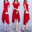 雪紡洋裝 純色連身裙2021夏新款女韓版中長款不規則氣質雪紡有女人味的裙子寶貝計畫 上新