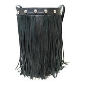 CELINE 賽琳 黑色牛皮流蘇斜背包 Bucket Shoulder Bag With Fringes【BRAND OFF】