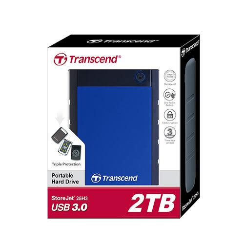 Transcend 創見 StoreJet 25H3 B 2T B TS2TSJ25H3B 藍色 USB3.0 2.5吋 行動 外接硬碟