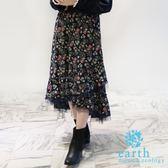 ❖ Autumn ❖ 異材質拼接碎花長裙 - earth music&ecology