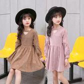 女童洋裝連身裙 韓國童裝時尚春裝上衣女孩公主洋氣棉麻裙子潮-炫科技