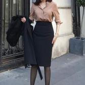 窄裙包臀職業半身裙女夏季工作裙西裝裙黑色高腰壹步裙中長款ol裙子 可卡衣櫃