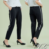 .HL超大尺碼.【19050024】完美修身側灰條紋鬆緊伸縮腰長褲 1色