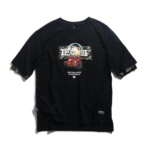 IZZVATI-迷彩挑戰熊寬版T-1色-黑 (限量僅6件,下單贈迷彩口罩乙個)
