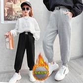女童褲子2021秋冬女孩洋氣外穿一體絨加絨加厚冬季中大童兒童運動長褲 3C數位百貨