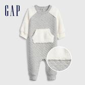 Gap嬰兒  保暖刷毛拼接圓領包屁褲 524621-石楠灰色