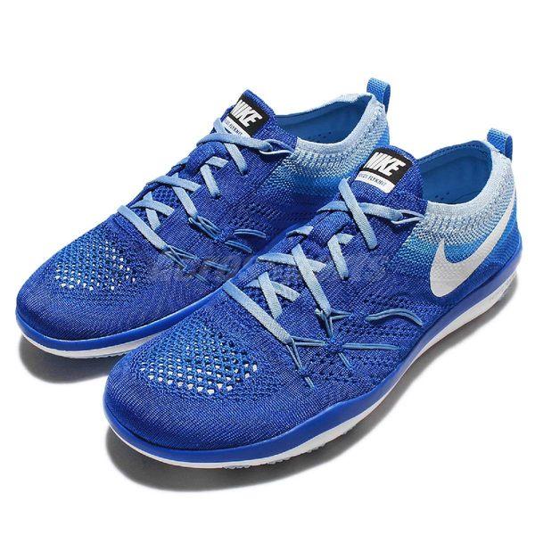 【四折特賣】Nike 訓練鞋 Wmns Free TR Focus Flyknit 藍 白 多功能 運動鞋 女鞋【PUMP306】 844817-401