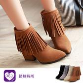 時尚動感流蘇造型側拉鍊設計磨砂粗跟短靴/4色/35-43碼 (RX1513-9-2) iRurus 路絲時尚