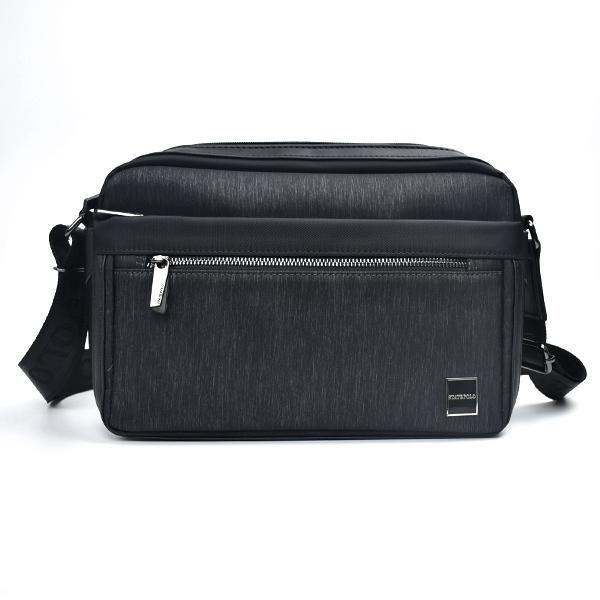 側背包 硬挺黑色髮絲紋休閒包包NZC13