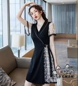 蕾絲洋裝 裙子2020年新款夏天女裝韓版法式赫本蕾絲設計感氣質黑色連身裙潮 VK396