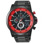 【J.SPRINGS】Chronograph Sports三眼計時手錶 (黑面/紅/黑色IP鋼帶 JSBFD056)