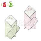 1A2B  紗布包巾加肚圍 -綠葉/粉葉