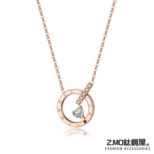 Z.MO鈦鋼屋 白鋼女性項鍊 圓形簍空單鑽鎖骨鏈 簡約優雅 短款鎖骨鏈【AKS1560】單條價