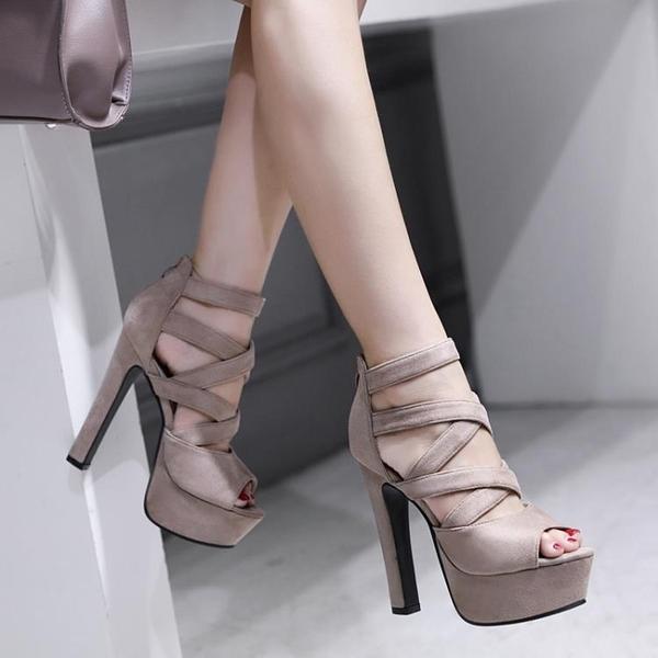 特惠 模特走秀超高跟鞋14cm夜店防水臺厚底粗跟職業涼鞋情趣大碼女鞋夏