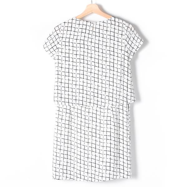 【MASTINA】滿版格子洋裝-白 網路獨家洋裝