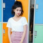 白色短袖女2020年夏季韓版IG熱門款小衫百搭打底衫v領心機鎖骨顯瘦上衣 居享優品