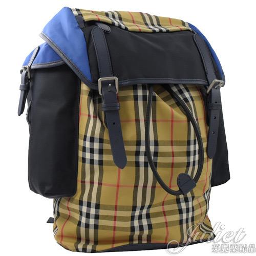 茱麗葉精品【全新現貨】BURBERRY 4079981 Vintage 格紋拼色旅用後背包.海軍藍